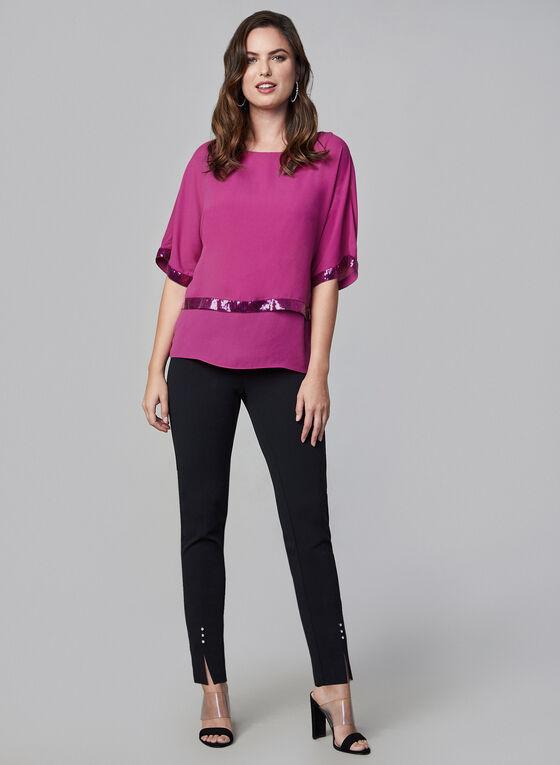 Short Sleeve Kimono Blouse, Purple