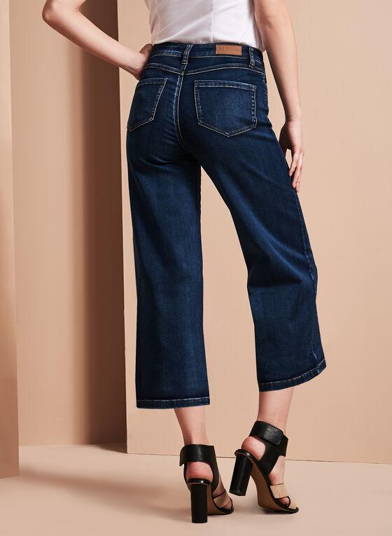Wide Leg Denim Culottes, Blue, hi-res