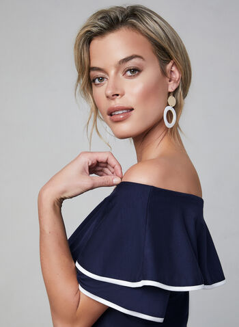 Off-the-Shoulder Top, Blue, hi-res,  jersey, ruffles, short sleeves, contrast trim. piping, fall 2019, winter 2019