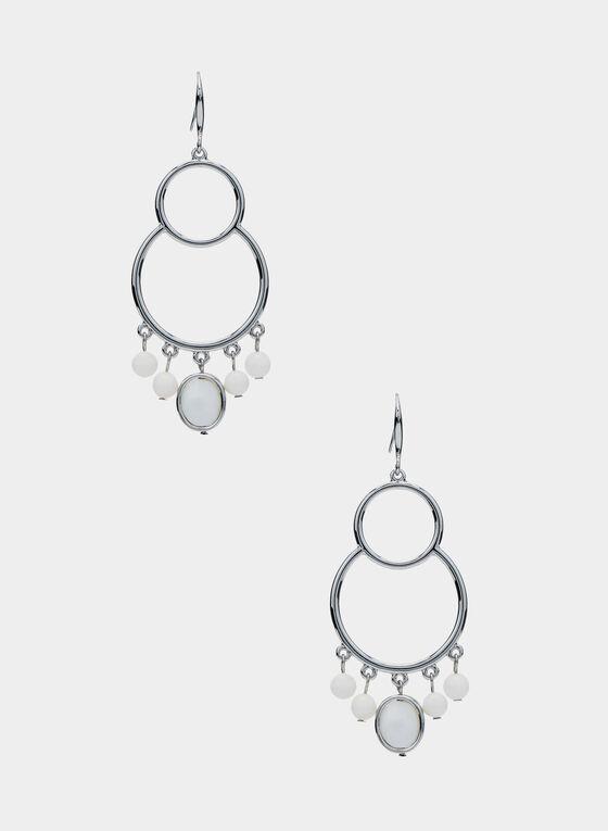 Double Hoop Earrings, White, hi-res