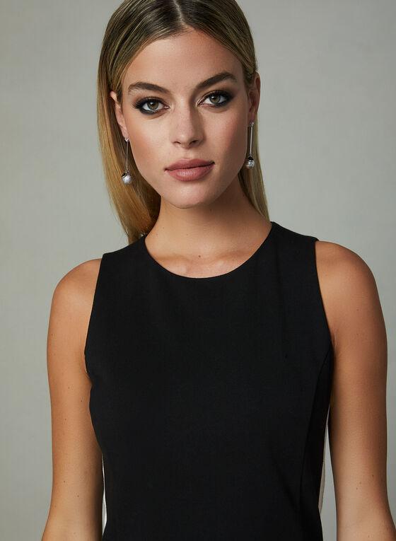 Contrasting Trim Sleeveless Sheath Dress, Black, hi-res