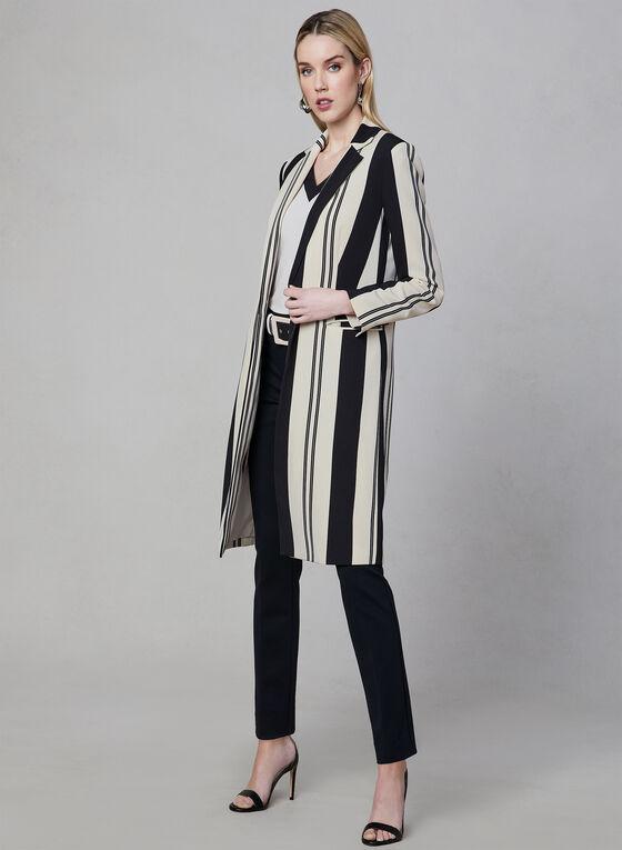 Stripe Print Long Jacket, Black