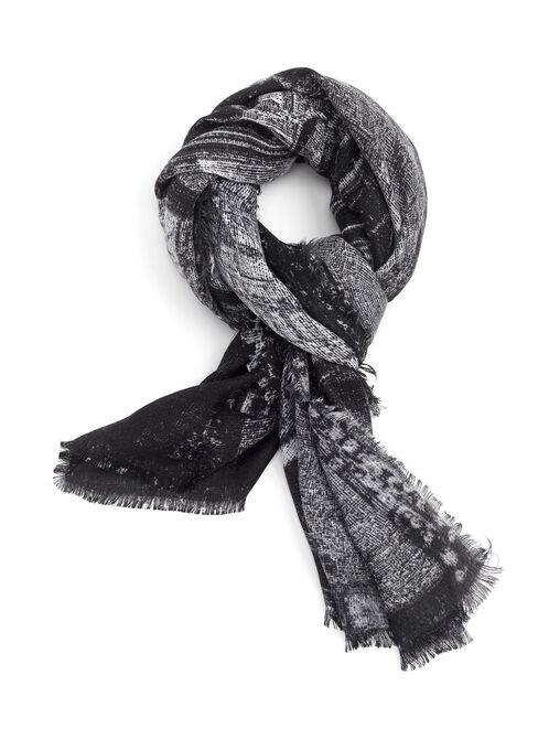 Foulard à motifs train avec franges, Noir, hi-res