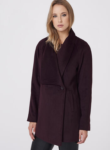 Novelti - Wool-Like Draped Lapel Coat, Red, hi-res