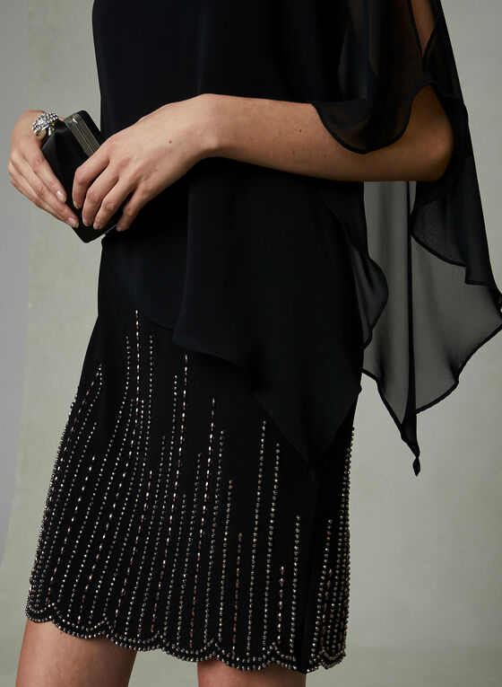 BA Nites - Robe poncho à billes, Noir