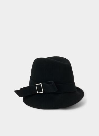 Wool Fedora , Black,  wool, felt, buckle, detail, fedora, hat, asymmetric
