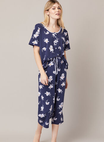 Floral Print Pyjama Set, Blue,  fall winter 2020, pyjama, set, sleepwear, t-shirt, pants, capris