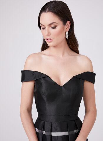 BA Nites – Off The Shoulder Stripe Print Gown, Black, hi-res