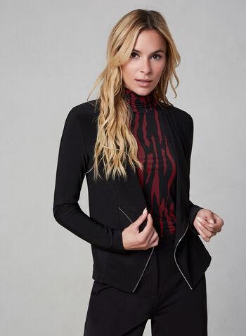 Zipper Trim Top, Black, hi-res,  Canada, top, open front, long sleeves, zipper trim, fall 2019, winter 2019