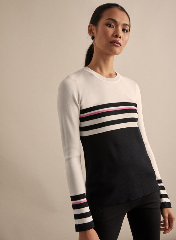 Striped Bell Sleeve Sweater, Black