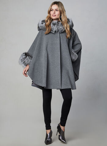 Mallia - Hooded Wool Cape, Grey, hi-res,  fall winter 2019, wool, cashmere, fox fur, outerwear, jacket, poncho