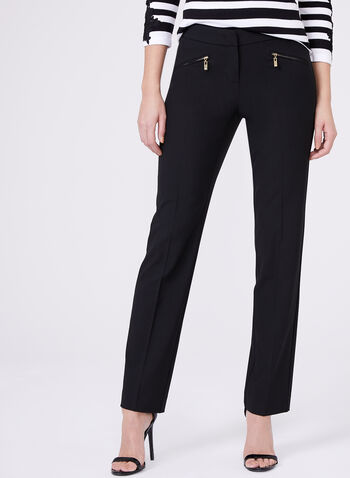 Lauren Mid Rise Pants , Black, hi-res