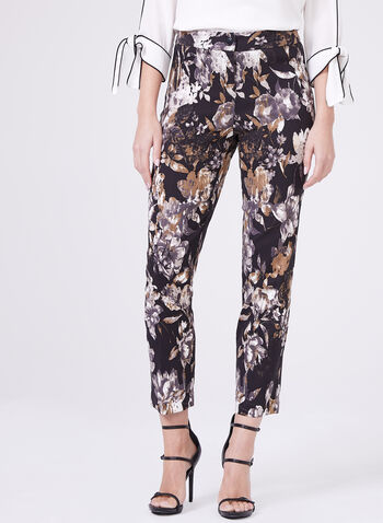 Floral Print Straight Leg Pants, Black, hi-res