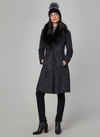 Novelti - Bouclé Wool Coat, Grey, hi-res,  coat, winter coat, faux fur, faux fur coat, wool coat, buttoned coat, fall 2019, winter 2019