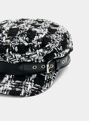 Houndstooth Pageboy Hat, Black, hi-res