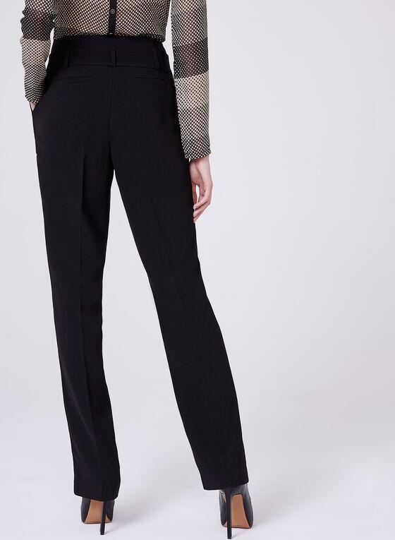 Straight Leg Paperbag Pants, Black, hi-res