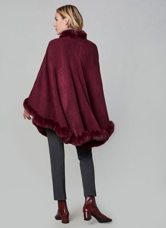 Faux Fur Trim Poncho , Red