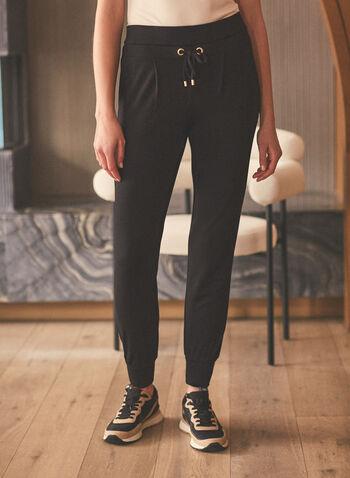 Pantalon pull-on style jogging , Noir,  printemps été 2021, bas, pull-on, jogging, liens à nouer, jambe étroite, ourlet élastiqué, tricot côtelé