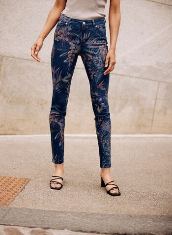 Floral Print Slim Leg Jeans, Blue,  fall winter 2021, jeans, denim, pants, slim leg, floral print, design, pattern, button, zipper, pockets, belt loops, mid rise, rivet, stretchy