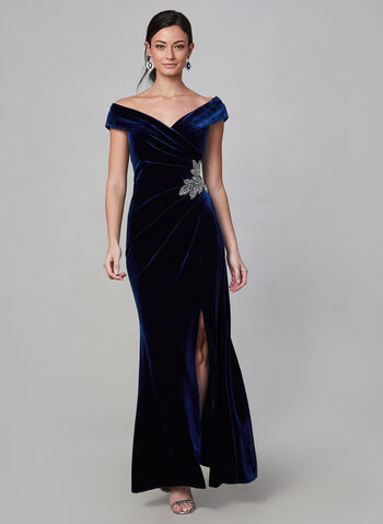 Alex Evenings - Velvet Off-the-Shoulder Dress, Blue,  evening gown, off the shoulder, velvet, sweetheart neckline, bare shoulder, rhinestone, fall 2019