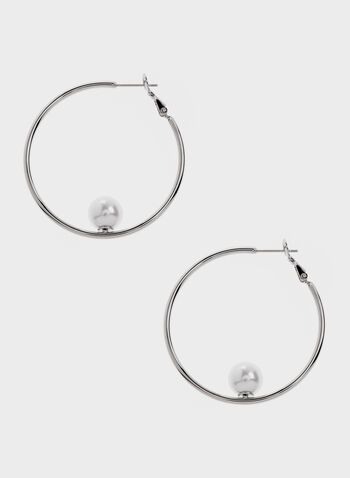 Faux Pearl Insert Metal Hoop Earrings, Off White, hi-res