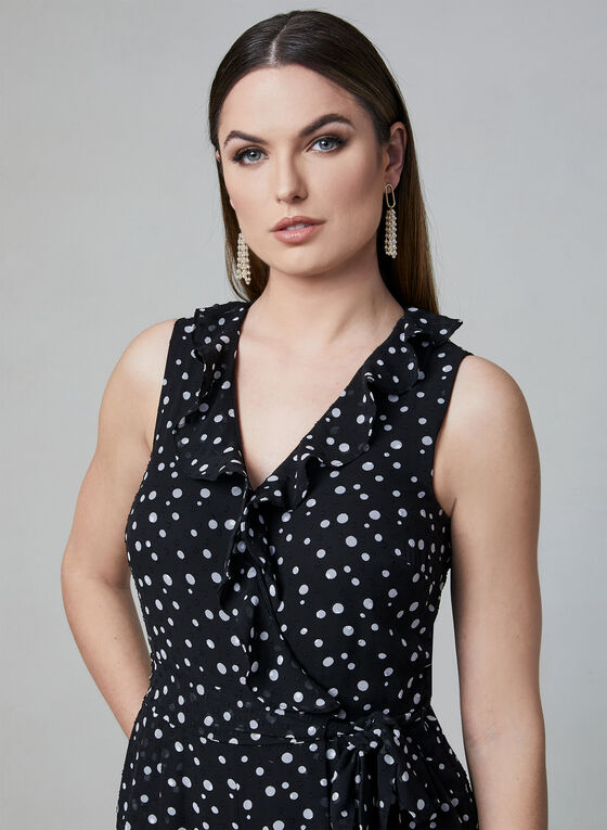 Donna Ricco - Polka Dot Print Jumpsuit, Black, hi-res