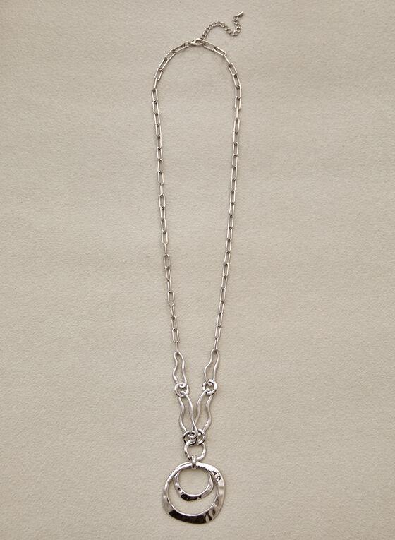Long Double Pendant Necklace, Silver