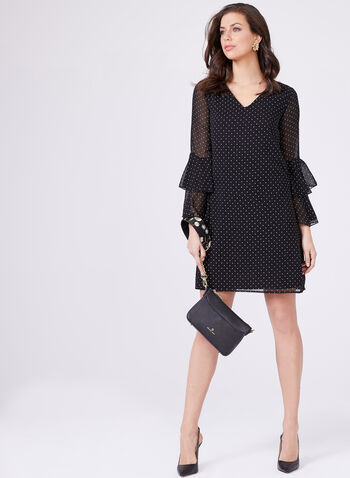 Polka Dot Print A-Line Dress, Black, hi-res