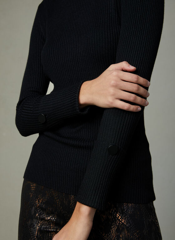 Ribbed Knit Sweater, Black, hi-res