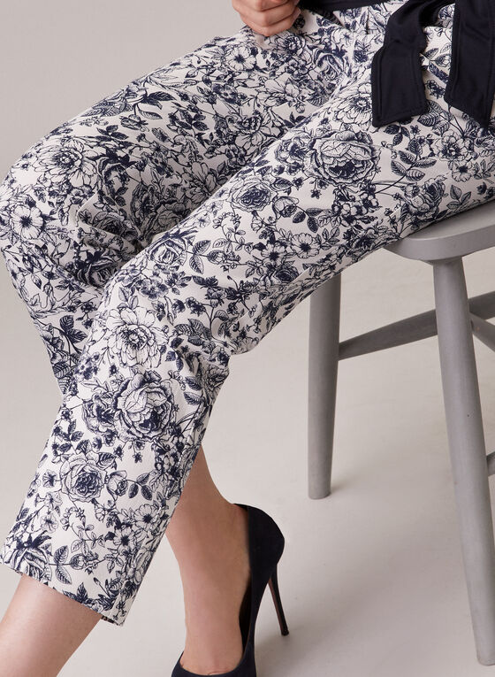 Chapter One - Floral Print Pull-On Capris, Blue