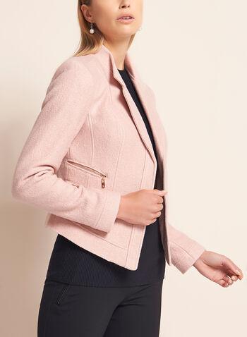 Cropped Zipper Trim Wool Blazer, , hi-res