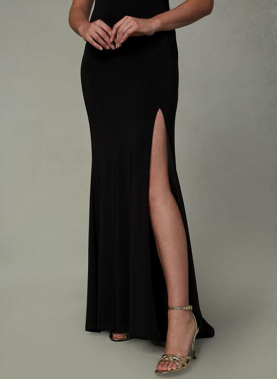 Robe de soirée fendue à bretelles, Noir, hi-res