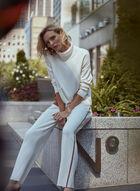 Colour Block Turtleneck Sweater, Off White