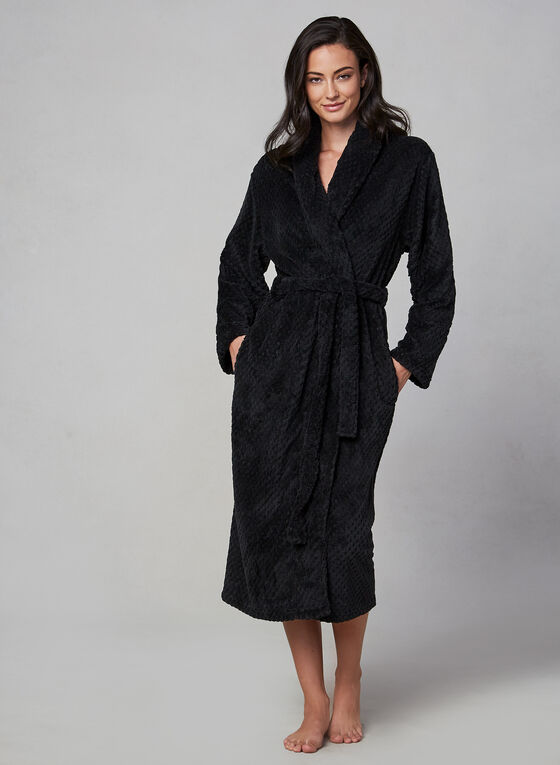 Plush Belted Robe, Black, hi-res