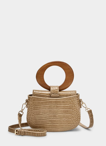 Faux Crocodile Handbag, Brown, hi-res,  handbag, faux crocodile, wood handle, spring 2019, summer 2019