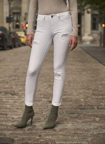 Joseph Ribkoff - Jean à jambe étroite à déchirures et sequins, Blanc,  jean, pantalon, taille mi-haute, jambe étroite, bouton, glissière, ganses pour ceinture, poches, rivets métalliques, détails, déchirures, sequins, denim extensible, joseph ribkoff, franck lyman, automne hiver 2021