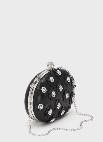 Pearl Embellished Satin Clutch, Black, hi-res