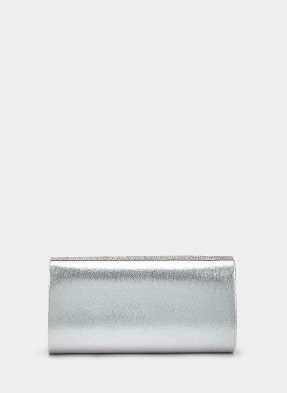 Crystal Embellished Flapover Clutch, Silver, hi-res