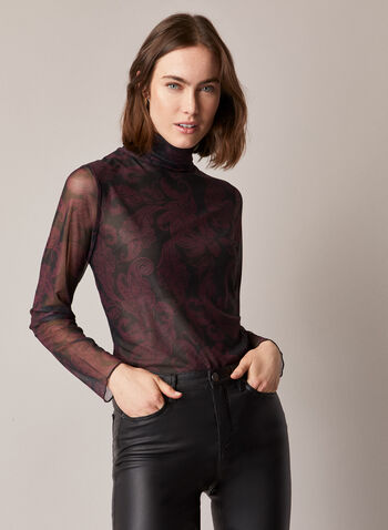 Baroque Print Mesh Top, Black,  fall winter 2020, top, blouse, long sleeves, turtleneck, mesh, paisley print, baroque print, see through, holiday