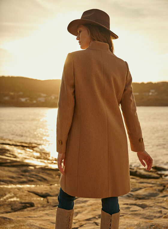 Mid Length Wool Blend Coat, Beige