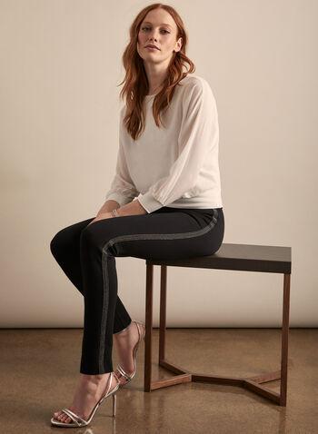 Pantalon pull-on à bandes ornementées, Noir,  pantalon, pull-on, bandes ornementées, jambe étroite, printemps été 2020