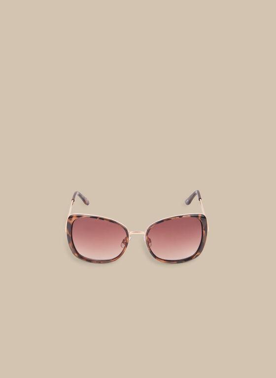Tortoise Print Square Sunglasses, Brown