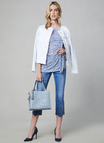 Stripe Print Top, Blue, hi-res,  Canada, short sleeves, stripe print, side tie, spring 2019