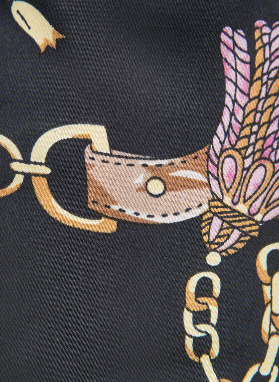 Faux Fur & Chain Print Necktie Scarf, Black
