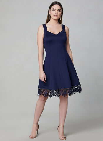 Donna Ricco - Sleeveless Scuba Dress, Blue, hi-res