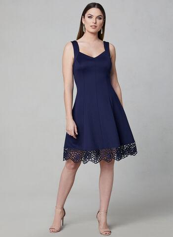 Donna Ricco - Robe sans manches et ourlet en crochet, Bleu, hi-res