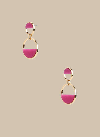 2 Tier Dangle Earrings, Pink,  earrings, dangle earrings, stone, spring 2020, summer 2020