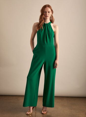 Crepe Wide Leg Jumpsuit, Green,  jumpsuit, halter neck, twist, sleeveless, keyhole, wide leg, crepe, spring summer 2020