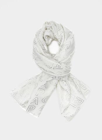 Karl Lagerfeld Paris - Écharpe siglée , Blanc cassé, hi-res