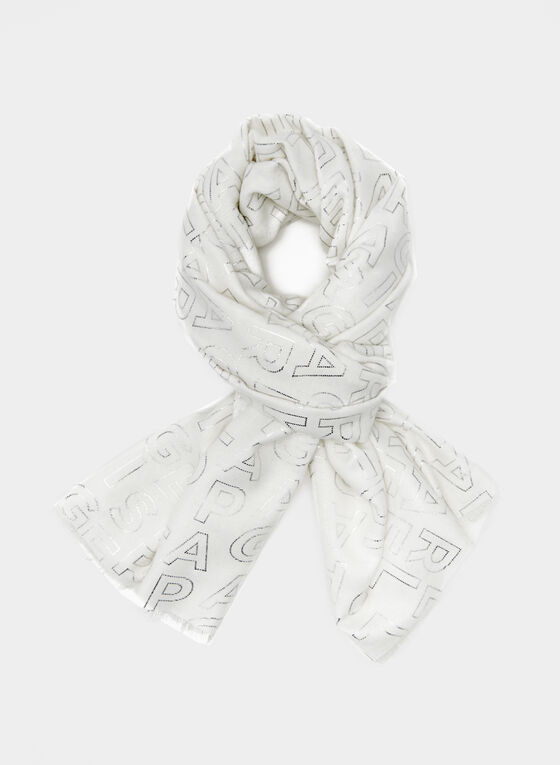 Karl Lagerfeld Paris - Alphabet Print Scarf, Off White, hi-res